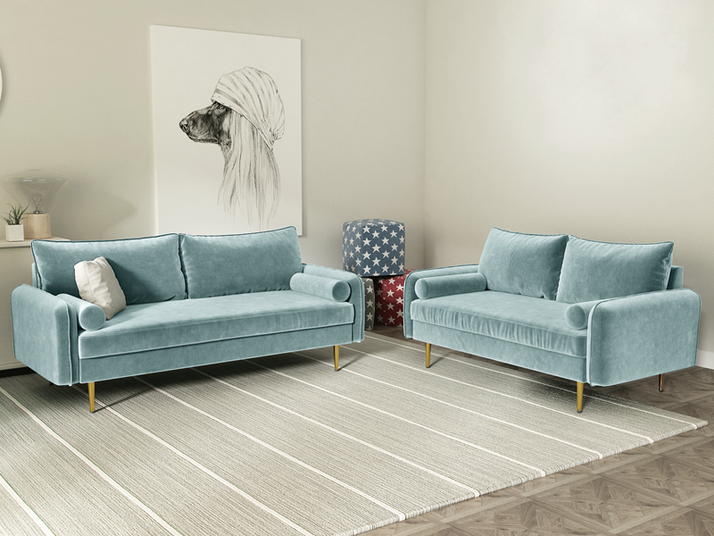 Picture of MARYJANET VELVET SOFA RANGE IN Light Greyish Cyan