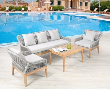 Picture of CERI 4PC OUTDOOR SOFA SET *ALUMINIUM FRAME + SOLID WOOD