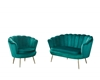 Picture of EVELYN  CURVED FLARED LOVE SEAT* GREEN VELVET