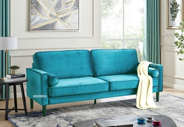 Picture of ROSINA 3 SEATER SOFA BED * GREEN VELVET