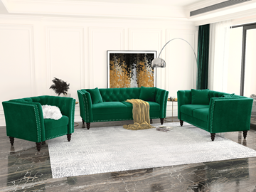 Picture of JERILYN CHESTFIELD FLARED ARM VELVET SOFA  RANGE IN SEVEN COLORS