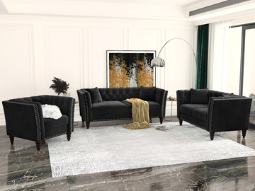 Picture of JERILYN CHESTFIELD FLARED ARM VELVET SOFA  RANGE IN BLACK