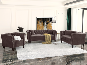 Picture of JERILYN CHESTFIELD FLARED ARM VELVET SOFA  RANGE IN BROWN