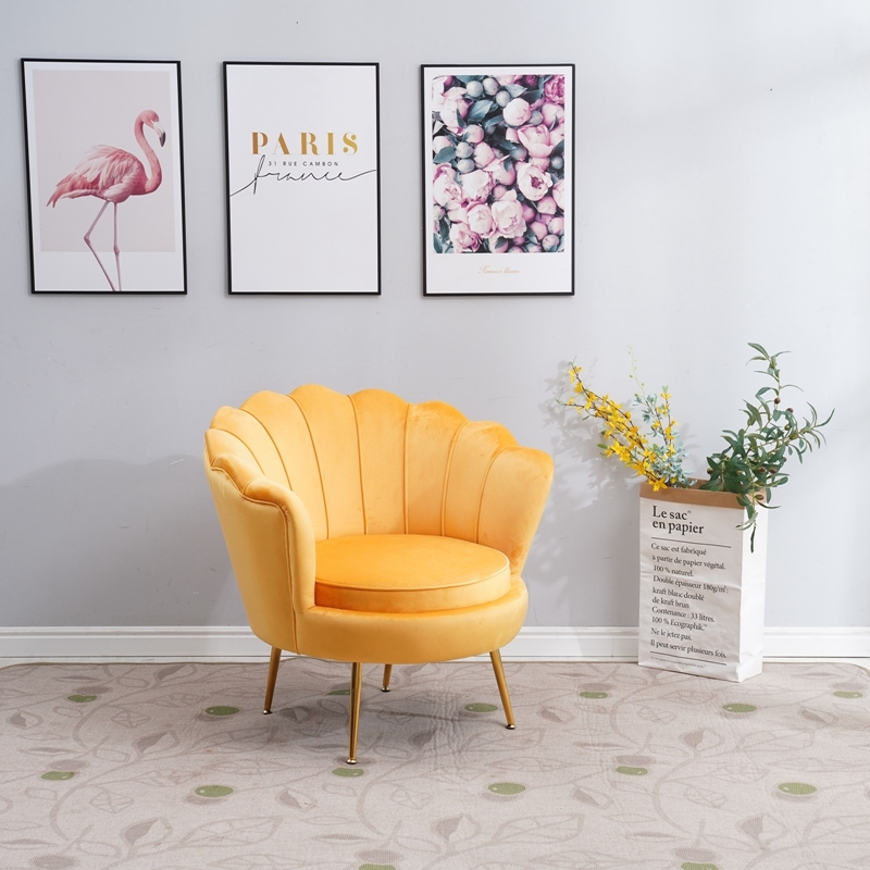 Picture of EVELYN  CURVED FLARED Armchair* YELLOW VELVET