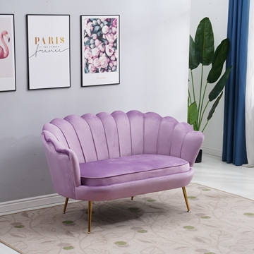 Picture of EVELYN  CURVED FLARED LOVESEAT* VIOLET  VELVET - copy