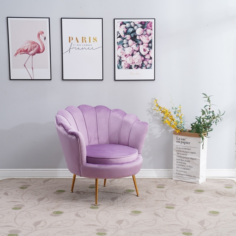 Picture of EVELYN  CURVED FLARED ARMCHAIR* VIOLET  VELVET