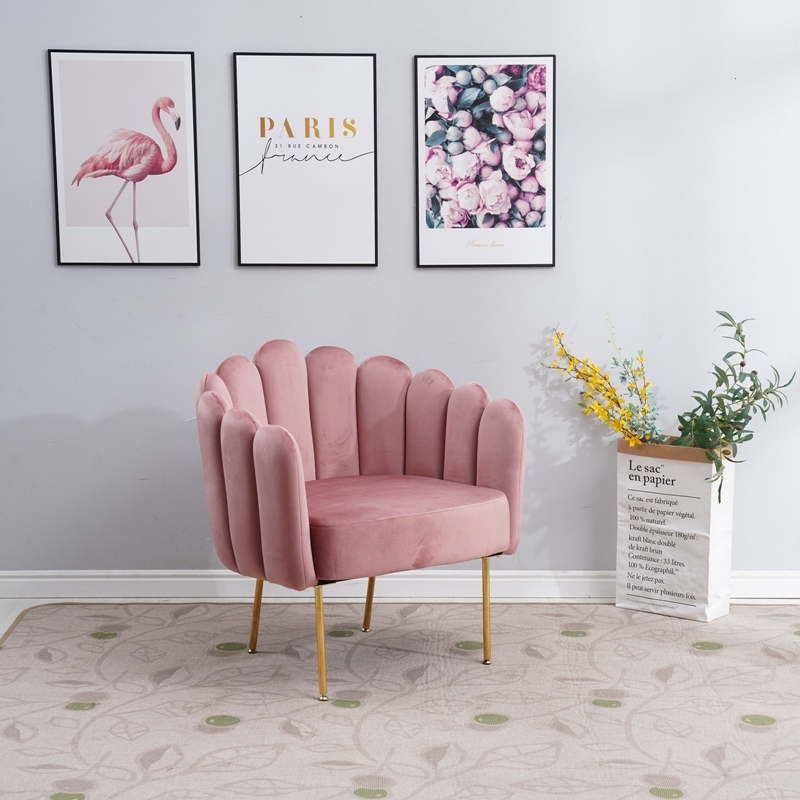 Picture of BLANEY CURVED FLARED ACCENT CHAIR* PINK VELVET