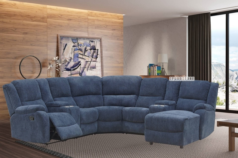 Picture of ALTO SECTIONAL MODULAR RECLINING SOFA WITH CHAISE * CUP HOLDERS AND STORAGE