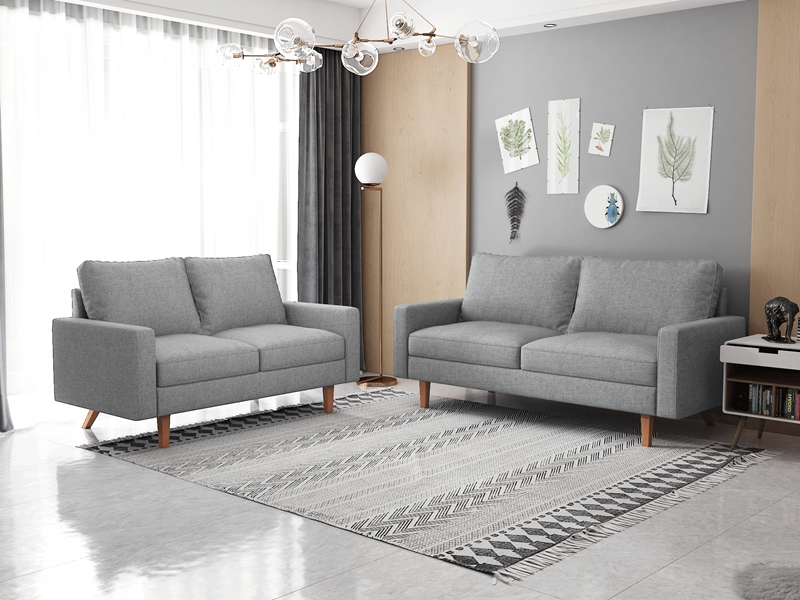 Picture of MAC 3+2 FABRIC SOFA RANGE IN LIGHT GREY