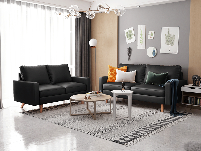 Picture of MAC LEATHER 3+2 SOFA RANGE IN BLACK