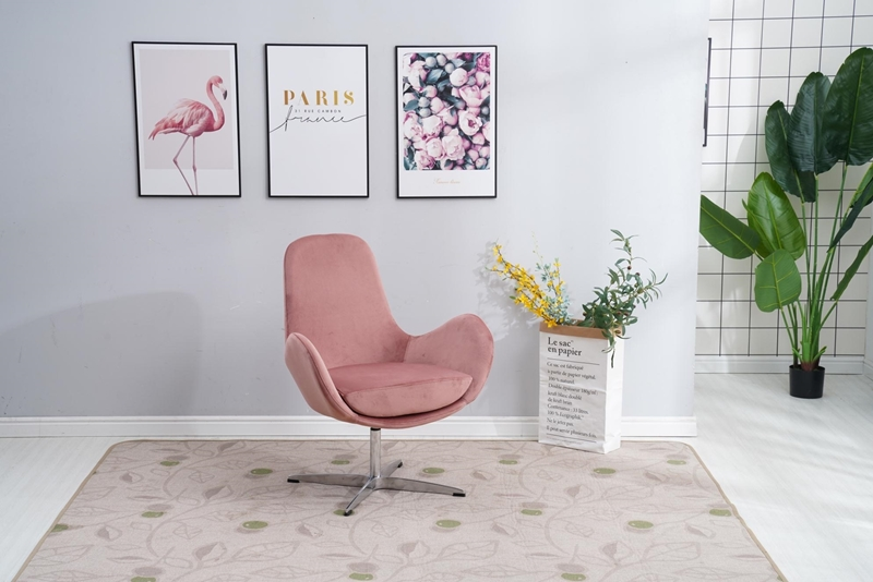 Picture of LESA SWIRL LOUNGE CHAIR * PINK VELVET