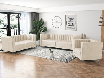 Picture of MISHTI VELVET 3 PCS SOFA RANGE IN BEIGE