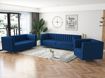 Picture of MISHTI VELVET 3 PCS SOFA RANGE IN  SPACE BLUE