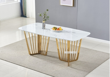 Picture of MARBELLO 180 MARBLE TOP STAINLESS STEEL DINING TABLE