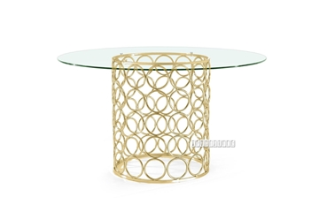 Picture of MARCANO GLASS TOP DINING TABLE *GOLD STAINLESS STEEL FRAME