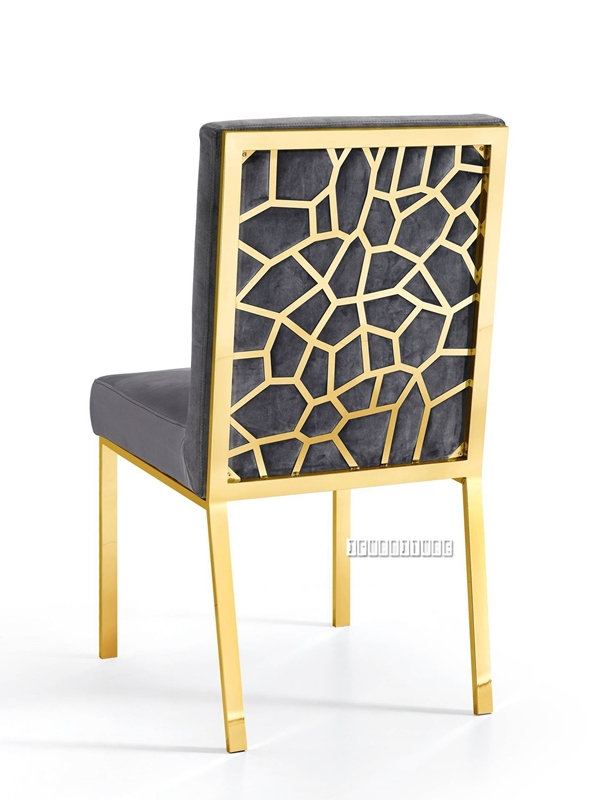 Picture of MARCANO GREY VELVET DINING CHAIR *GOLD STAINLESS STEEL FRAME