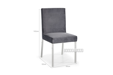 Picture of MARCANO GREY VELVET DINING CHAIR *SILVER STAINLESS STEEL FRAME