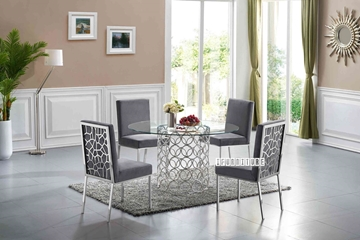Picture of MARCANO 140 GLASS TOP ROUND 5PC DINING SET *SILVER STAINLESS STEEL FRAME