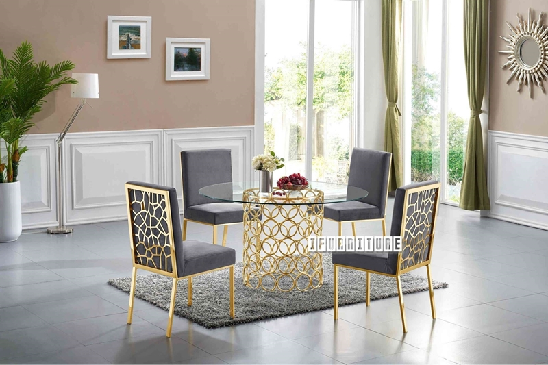 Picture of MARCANO 140 GLASS TOP 5PC DINING SET *GOLD STAINLESS STEEL FRAME
