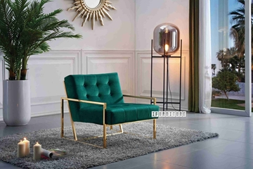 Picture of Lantel GOLD STAINLESS LOUNGE CHAIR *GREEN VELVET