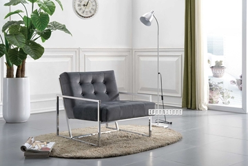 Picture of Lantel SILVER STAINLESS LOUNGE CHAIR *GREY VELVET