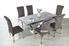 Picture of NUCCIO 180 MARBLE TOP STAINLESS 7PC DINING SET *DARK GREY VELVET