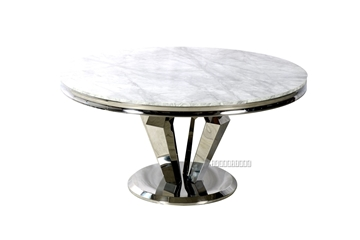 """Picture of NUCCIO 54"""" MARBLE TOP STAINLESS ROUND DINING TABLE *LIGHT GREY"""