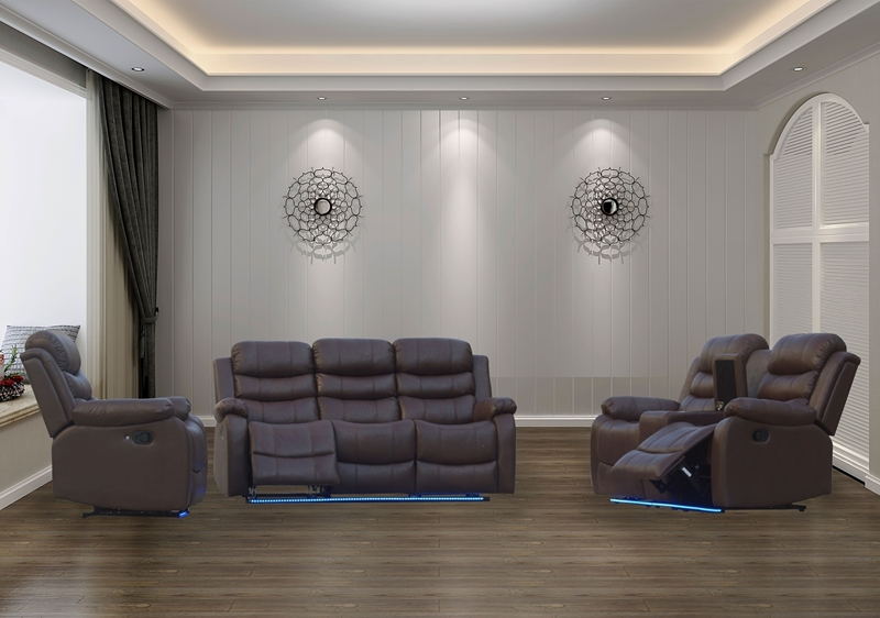 Picture of TANIA RECLINING SOFA  IN 3RR+2RR+1R WITH LED LIGHT * CUP HOLDERS AND STORAGE