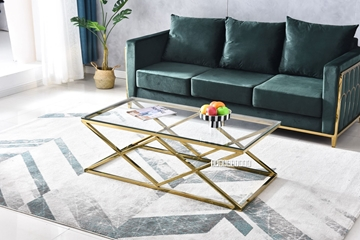 Picture of DIAMOND 120 GLASS TOP COFFEE TABLE *GOLD STAINLESS