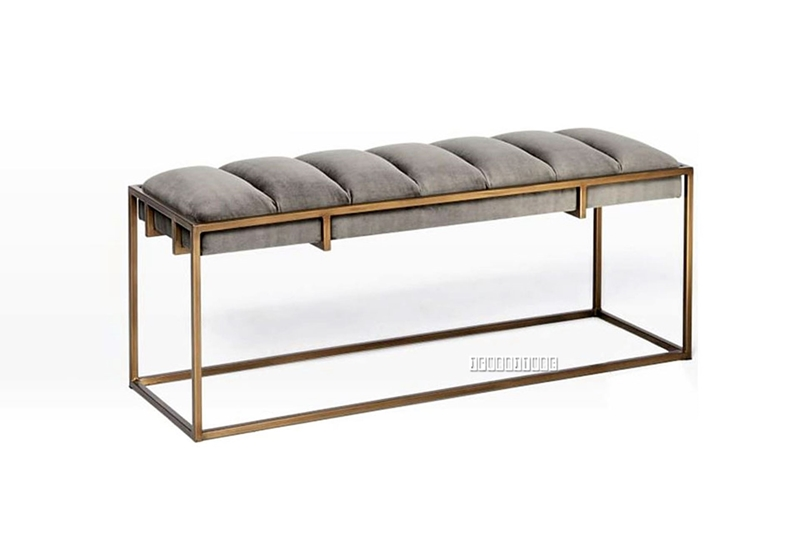 Picture of FINCHLEY GOLD FRAME DINING BENCH *GREY VELVET