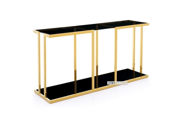 Picture of TANGO GLASS TOP GOLD STAINLESS FRAME CONSOLE TABLE *BLACK