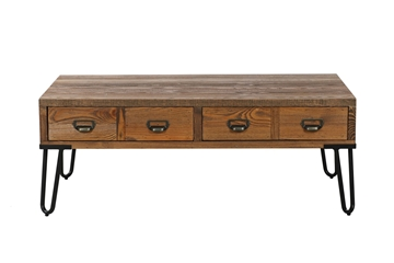 Picture of LIBRARY 4 DRW RECTANGLE WOOD COFFEE TABLE *brown RUSTIC