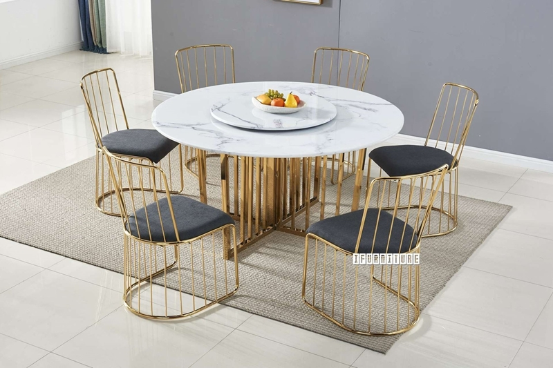 Picture of MARBELLO 140 ROUND MARBLE TOP STAINLESS STEEL DINING TABLE *GOLD