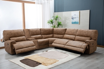 Picture of STARC MODULAR POWER RECLINER SECTIONAL SOFA WITH CONSOLE * AIR LEATHER IN SANDSTONE