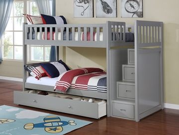 Picture of Jenafir  Twin over twin bunk bed *grey