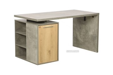 Picture of MORENA REVERSIBLE WRITING DESK WITH SHELF *CEMENT AND NATURAL OAK