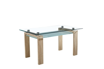Picture of Tangular Temper Glass Dining Table With Shelf