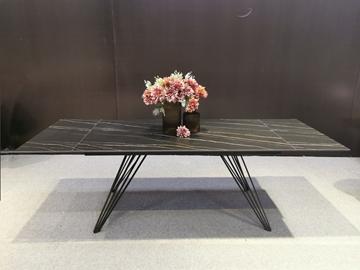 Picture of RANGER 160-240 CM EXTENSION CERAMIC MARBLE DINING TABLE *MATT GOLDEN BLACK
