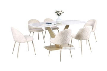 Picture of LANCER 7PC 180 CERAMIC MARBLE DINING SET